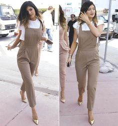 Kylie Jenner shows Gen Y how to do fashion in ASOS overalls. Khakis Outfit, Jumper Outfit, Overalls Outfit, Dungarees, Kylie Jenner Style, Kris Jenner, Kendall Jenner, Kendall And Kylie, I Love Fashion