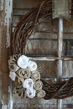 Just a touch of burlap! Loving it