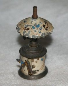 ANTIQUE FIGURAL,METAL~~hand painted oil lamp TAPE MEASURE~~w/ DRAGONFLY pull
