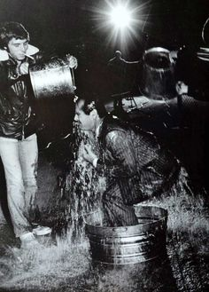 Jack Nicholson getting doused with water to film a scene for Chinatown