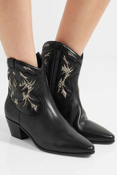 Saint Laurent - Rock Ayers-paneled Leather Ankle Boots - Black - IT39.5