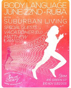 ::Philly:: I'm v excited for this show w/ #bodylanguage at Ruba on 6/22 w/ DJs @vacationing & Matt Law. Mark the cals and come hang!