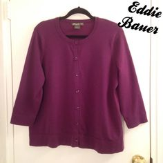 "Eddie Bauer 3/4 Sleeve Cardigan Sweater Eddie Bauer 3/4 Sleeve Cardigan Sweater, size XXL or 18/20. Approx 26"" long. Deep purple color, has all buttons, in excellent condition. #plussize Eddie Bauer Sweaters Cardigans"
