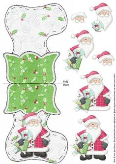 Santa s Christmas Stocking on Craftsuprint designed by June Harrop - Lovely shaped card which is sure to put a smile on anyone's face.Extra pieces will give this card dimension. - Now available for download!