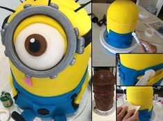 How to make / bake a Despicable Me Minion cake step by step tutorial ~ Part 1