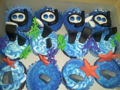 Scuba cupcakes By Misty Wood - DFW Area For Ordering Information www.mistywood.wix.com/enticingicing