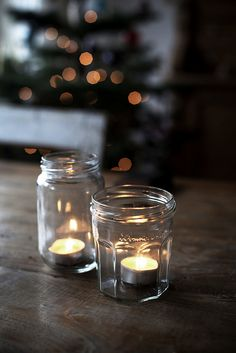 Simple tea lights in jam jars.
