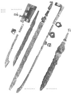 "Seaxes and scabbard fittings from Gotland (picture from ""Die Wikingerzeit Gotlands, vol. 1"" by Lena Thunmark-Nylén)"