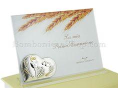 Portafoto Prima comunione in acrilico con cuore laminato argento