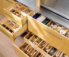 Pull-out drawers with dividers for small accessories