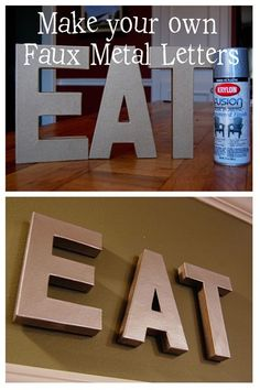 Check it out Make your own faux metal letters for a fraction of the cost! The post Make your own faux metal letters for a fraction of the cost!… appeared first on Derez Decor . Home Projects, Home Crafts, Fun Crafts, Diy Home Decor, Metal Projects, Metal Crafts, Inexpensive Home Decor, Art Decor, Frugal