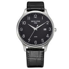 New Fashion Men's Quartz leather Watch Male Wristwatch relogio masculino relojes Big Dial Watches Men Luxury Brand HOLUNS 2017