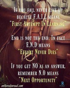 You never fail. #instahorse #ontherodeoroad #horses #website #success #wpra #barrelracing #barrelracer #failure #motivationalquotes #motivation #rodeolife #rodeobound #cowgirl #cowboy #teamroper #motivation