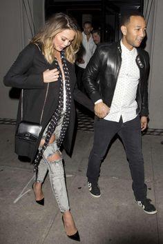 94a349b775 Chrissy Teigen wearing Givenchy Bow Cut Shoulder Bag in Leather and Kurt  Geiger London Bond Pumps