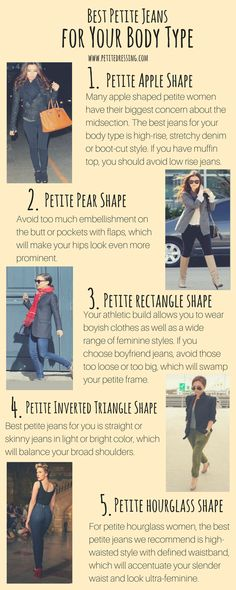 There was a time when the term 'petite' described short and slim females. However the word has expanded its meaning to consist of other body types with curvy being among them. Nevertheless, this didn't make dressing for small and curved women easier. Fashion For Petite Women, Petite Fashion Tips, Petite Outfits, Petite Dresses, Fashion Bloggers, Fashion Trends, Womens Fashion, Best Petite Jeans, Petite Clothing Stores