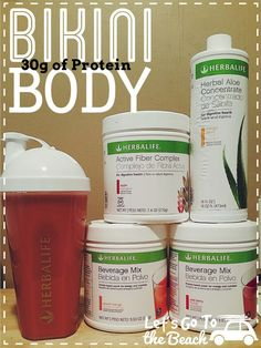 Bikini in a cup!  30g of protein!  www.GoHerbalife.com/angela-black to order!   2scoops wild berry beverage mix 2scoops peach mango beverage mix  2scoops active fiber complex (apple)  6capfulls peach mango aloe concentrate  12-16oz water.  Shake and enjoy!