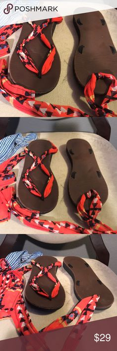 """Sseko sandals IN GOOD USED CONDITION  Genuine leather sandal soles and real rubber outsoles for lasting durability with a 1-inch layer of foam cushioning for all day support Includes one pair of colorful Arroyo Chiffon Ribbons, patterned with a red, blue, yellow and black design Includes one pair of Starboard Ribbons  both Straps measure 64"""" inches long and attach to any ribbon sandal base SSEKO Shoes Sandals"""