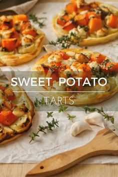 Sweet potato, butternut and chevin tarts brushed with thyme oil. Incredibly delicious!