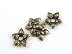 TierraCast STAR JASMINE RIVETABLE - Antique Brass Oxide Bronze Flower Bead to Rivet for Leather Jewelry by Tierra Cast Pewter (ps495)