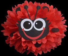 Create your own lady bug using a tissue paper pompom Ladybug Picnic, Baby Ladybug, Ladybug Party, Lego Birthday Party, 1st Birthday Parties, Frozen Birthday, 2nd Birthday, Paper Pom Poms, Tissue Paper