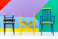 """Upcycled chairs inspired by traditional Nigerian parables and African fabrics"" via designmilk"