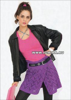 Ажурная юбка цвета фуксии, с запáхом. Спицы