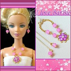 Handmade jewelry set(necklace and earring) for barbie doll. handmade barbie doll jewelry set necklace and earrings. 1 sets of Handmade jewelry (includding 1 pc necklace and 1 pair of earrings) for barbie doll. Diy Jewelry Set, Hair Jewelry, Beaded Jewelry, Handmade Jewelry, Barbie Clothes Patterns, Doll Clothes, Estilo Popular, Barbie Dolls For Sale, Barbie Hair