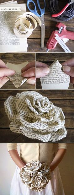 I just tried it! Made them (one for my wedding bouquet and one smaller rose for the Groom) of an old recycled paper bag from our local o...