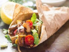 These vegan eggplant gyros are made with savory pan-fried strips of seasoned eggplant, wrapped up in warm pita bread with creamy dairy-free tzatziki.