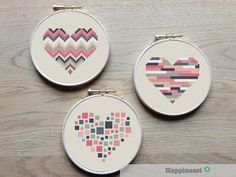 3 geometric modern cross stitch heart patterns, hearts, set of 3, PDF pattern ** instant download**