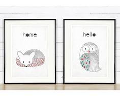 Retro poster in Scandinavian style owl art print by EmuDesigns