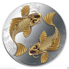 Feng Shui Koi Fish  2012 1 oz silver coin proof