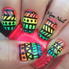 Neon Tribal Print Nails      Photo by vixen_nails