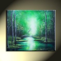 Green Trees Forest River Original Acrylic Landscape Painting 24x30 Vibrant