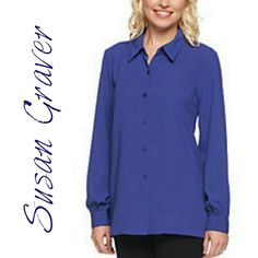 """Navy Blouse Susan Graver blouse in navy. Very lightly padded removable shoulder pads. Length 31"""" Bust 30.5"""". 100% polyester. ACTUAL COLOR LAST PICTURE. Susan Graver Tops Blouses"""