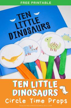 This Ten Little Dinosaurs circle time activity is a fun way to work on simple math skills with preschoolers. Free printable props included! #preschool #dinosaurs #math #counting #printable #circletime #teachers #earlychildhood #education #literacy #3yearolds #teaching2and3yearolds Dinosaur Theme Preschool, Dinosaur Activities, Toddler Learning Activities, Preschool Books, Kindergarten Activities, Circle Time Activities Preschool, Dinosaur Play, Dinosaur Printables, Toddler Circle Time