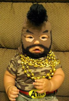 Collection of funny Halloween costumes for babies and children.