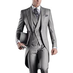 Custom Made Morning Suits Groom Wedding Suits Handsome Groomsman Business Suits Prom Suits (Jacket+Pants+Vest+Tie) Groom Morning Suits, Wedding Morning Suits, Groom Tuxedo, Tuxedo Suit, Tuxedo For Men, Black Tuxedo, Black Suits, Tuxedo Wedding, Wedding Suits