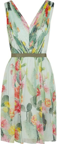 Cactus Garden printed silk-chiffon dress