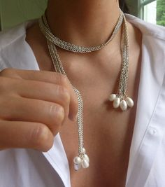 Necklace/lariat, sterling silver chainmaille, freshwater pearls, handmade, designer quality, luxurious