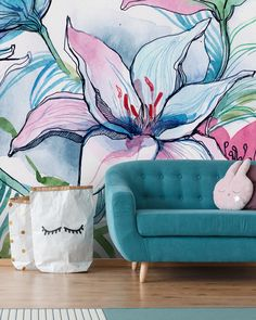 Create a grown up nursery with a beautiful floral mural like this lily mural. Featuring mellow colours in pinks and blues, this pretty mural will look fab in any nursery! Shop this and more lily murals at Wallsauce. Botanical Wallpaper, Geometric Wallpaper, Custom Wallpaper, Of Wallpaper, Mural Floral, Flower Mural, Flower Wall, Wall Murals Bedroom, Inspiration Wall