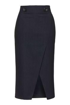 Photo 1 of Pinstripe Wrap Midi Skirt