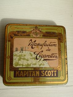 Zigarettendose 20 Kapitän Scott Gold Flach - Südpol-Expedition -Deutsch - X-Rare