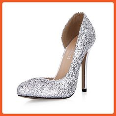 162a71d294a5 DolphinGirl Women Fashion Glitter Silver Pointy Toe 12CM High Heels Twinkle  Dress Pumps Blink Stiletto Shoes
