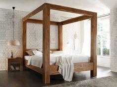 Massivum Schlafzimmer-Set Stark, 180 x 200 cm King Size Canopy Bed, Canopy Bed Frame, King Bed Frame, Wood Canopy Bed, Wood Bed Design, Bed Frame Design, Wooden King Size Bed, Camas King, Diy Bett