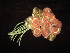 Vintage 1930s/40s Art Deco Salmon Pink Velvet Floral Spray Millinery Hat Trim. $17.00, via Etsy.