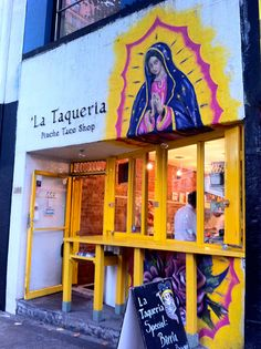 Our lady on a taco shop.Everyone loves Mary:-)