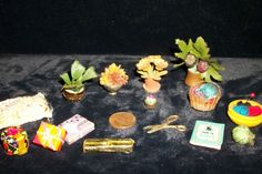 15 Pieces Vintage Miniatures Knitting Tools Gifts Pillow Flower Arrangements