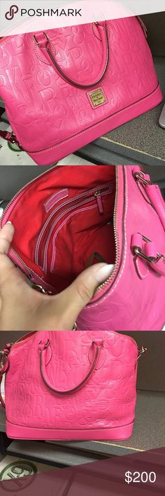 Dooney & Burke pink women's purse 👛 Dooney & Bourke women's purse in great condition , minor scratches , shoulder strap ,very pink , zippers work ,was a beloved purse  time to depart 👛💕 Dooney & Bourke Bags Shoulder Bags