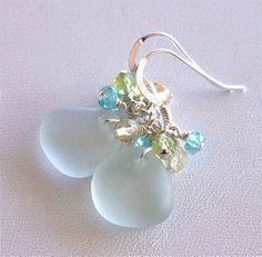 Sea Glass Jewelry Soft Aqua Gemstone by OceanCharmsSeaGlass, $22.00